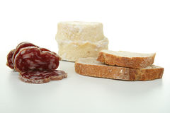 Cheese, sausage and bread Stock Photography