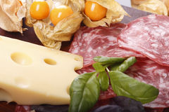 Cheese, sausage, cape gooseberries and basil. On the board Royalty Free Stock Photography