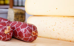 Cheese and sausage Stock Image