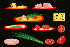 Cheese sausage onions tomatoes. Food snack breakfast eating vector Stock Images