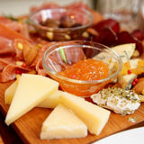 Cheese and sausage platter Stock Photography