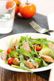 Cheese sausage and rocket salad Royalty Free Stock Photo