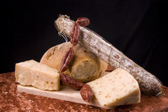 Cheese and sausage still life Royalty Free Stock Photos