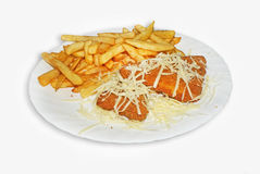 Cheese schnitzel with fries Royalty Free Stock Photo