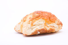 Cheese Scone. From low viewpoint isolated against white background Royalty Free Stock Photo