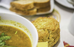 Cheese scone and lentils soup Stock Photos