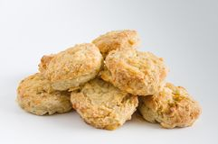Cheese scones on white background Stock Image