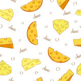 Cheese seamless pattern. Doodle pieces of cheese Royalty Free Stock Images