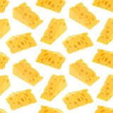Cheese seamless pattern isolated on white background Stock Photos