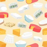 Cheese Seamless Pattern. Cheese variety flat seamless pattern with cheddar mozzarella gouda camembert vector illustration Royalty Free Stock Image
