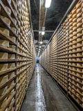 Cheese seasoning caves. Copper mine used for seasoning mountain cheese Stock Photography