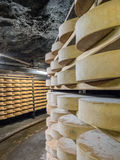 Cheese seasoning caves. Copper mine used for seasoning mountain cheese Stock Photo