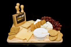 Cheese selection. Cheese and biscuit selection on a platter Stock Photography