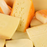 Cheese selection with Gouda and Swiss cheese Stock Photos