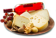 cheese selection over white Royalty Free Stock Image