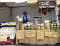 Cheese seller. In Gualdo medieval town. Region Marche, Italy Royalty Free Stock Photo