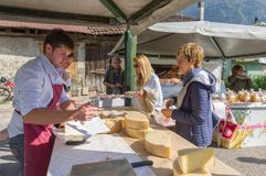 Cheese selling on the alps of Italy stock photos