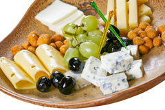 Cheese set. To wine in white background stock image