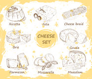 Cheese set in background Stock Photos