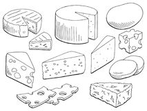 Cheese set graphic black white isolated food sketch illustration vector. Cheese set graphic black white isolated food sketch illustration Stock Photography