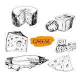 Cheese. Set of hand drawn graphic illustrations Stock Photos