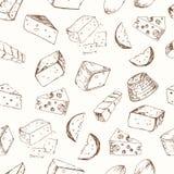 Cheese set seamless pattern. Stock Photography