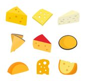 Cheese set. Vector flat cartoon character. Illustration icon design. Isolated on white background. Diferent type of cheese Stock Photo