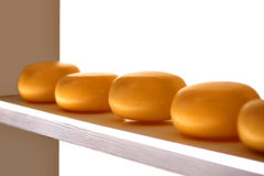 Cheese on shelf Stock Photos