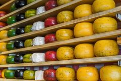 Cheese shop in Gouda Netherlands. Food background Stock Photo