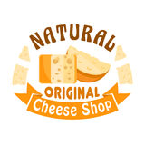 Cheese shop vector icon, badge, sign. Cheese shop sign. Vector icon, badge with cheese head and slice. Dairy industry cheese assortment of cheddar, parmesan Stock Photo