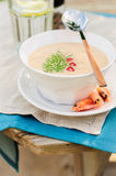Cheese Shrimp Cream Soup in a White Bowl Royalty Free Stock Photos