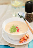 Cheese Shrimp Cream Soup in a White Bowl Royalty Free Stock Photography