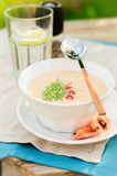 Cheese Shrimp Cream Soup in a White Bowl Stock Photo