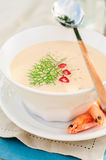 Cheese Shrimp Cream Soup in a White Bowl Stock Photos