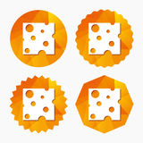 Cheese sign icon. Slice of cheese. Stock Photography