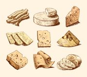 Cheese sketch collection Royalty Free Stock Photography