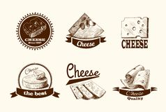 Cheese Sketch Labels Royalty Free Stock Photo