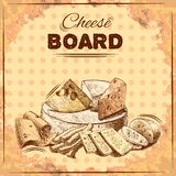 Cheese sketch poster. Cheese board poster with gourmet food fresh dairy product assortment vector illustration Royalty Free Stock Images