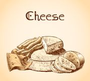 Cheese sketch poster Stock Photography