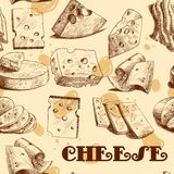 Cheese sketch seamless wallpaper Royalty Free Stock Photography