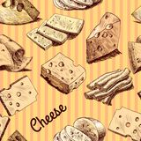 Cheese sketch seamless wallpaper Stock Photo