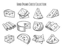 Cheese sketch set. Vector doodle collection of cheese pieces and slices royalty free illustration