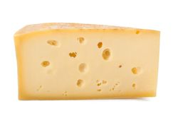 Cheese slice. Isolated on white Royalty Free Stock Images
