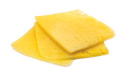 Cheese Slice Isolated Macro Stock Photo