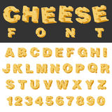 Cheese slice  letters and numbers latin font. Yummy food snack typeset alphabet collection Royalty Free Stock Photo
