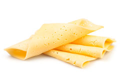 Cheese slices. On white background Royalty Free Stock Photos