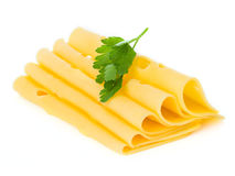 Cheese slices close-up. Isolated on white background Royalty Free Stock Photos