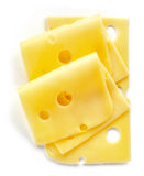Cheese slices. Isolated on white background, top view Royalty Free Stock Image