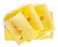 Cheese slices. Isolated on white background, top view Stock Photo