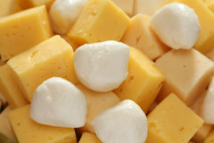 Cheese Slices. And mozzarella. Close-up Royalty Free Stock Photography